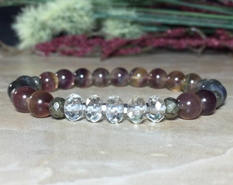 8mm Genuine Rare Russian Fluorite Bracelet, Madagascar Labradorite Bracelet, Citrine Bracelet, Aura cleansing, Protection, Success, Energy