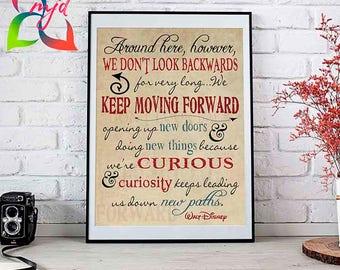 Keep Moving Forward // 5 Sizes Available // Disney Quote // Disney Prints // Disney Graduation // Inspirational