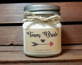 Team Bride - 8oz Soy Candles Handmade - Bride Tribe - Bridesmaid Gift - Maid of Honor Candles - Matron of Honor - Bridal Party Gifts