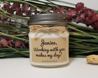 Personalized Coworker Gift - Employee Appreciation - Secretary Gift - 8oz Soy Candles Handmade - Gift for Boss -  Office Gift - Secretary