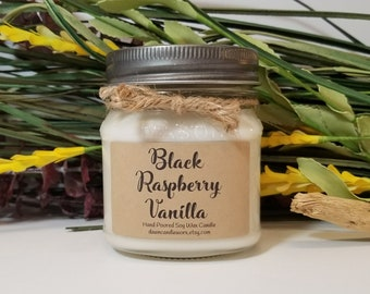 8oz Black Raspberry Vanilla Soy Candle  - Mason Jar Candles - Soy Candles - Birthday Gift - Hostess Gift - Gift for Her - Coworker Gift