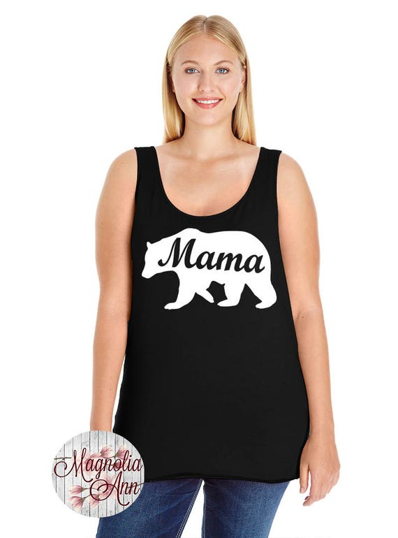Mama Bear, Momlife, Mom, Women's Premium Jersey Tank Top in Sizes Small-4X, Plus Sizes, Curvy, Lots of Colors