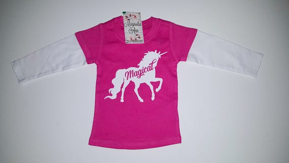 Magical Unicorn Infant Baby Hot Pink & White Two-fer Long Sleeve Top, Sizes 6 Months-24 Months, Baby Unicorn Shirt, Infant Unicorn Shirt