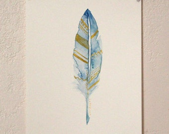 Blue and Gold Feather // Original painting