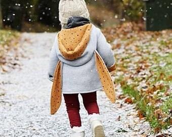 Mustard Spot Bunny Ear Coat, Kidswear, Baby Clothes, JMW Kids, Toddler, Baby girl, Winter coat, rabbit coat, autumn coat, bunny coat