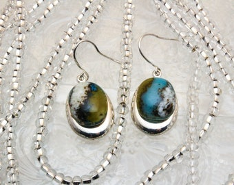 Organic Turquoise Fused Glass Oval Drop Earrings