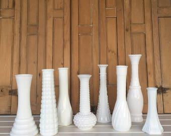 8 Vintage Milk Glass Vases ,(E), Bud Vases, Centerpiece, White, Wedding Decor, Cottage Style, Farmhouse Style, Rustic Decor, Home Decor