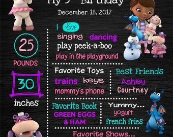 Doc McStuffins Birthday Chalkboard Poster - Wall Art design - Birthday Party Poster Sign - Any Age