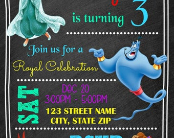 Aladdin Chalkboard Invitation - Disney Princess Jasmine Birthday Party Invitation - Birthday Party Invite - Digital Personalized Customized