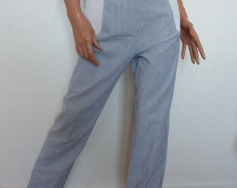 Vintage 70s Striped High Waist Pants MAM'STYL Paris Blue White French Elasticated 1970s  Trews Trousers Size 40 Maternity Wear