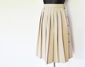 Vintage Skirt, 1990s, UK14, Midi Pleated Skirt, Secretary, Pinup Girl, Vintage Clothing, Skirts, Taupe Skirt, Buttoned Skirt