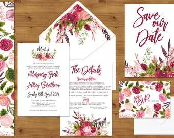Rustic Rose Watercolour Floral Wedding Invitations Stationery Set - Printed or Digital Download - Rose Wedding - Printable Wedding