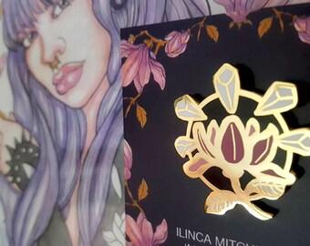 Moth Gods Artifact Enamel Pin - Pink Magnolia Flower