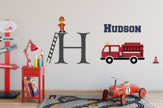 Name Wall Decal with Initial and Fire Fighter, Fire Truck - Boy Bedroom Wall Sticker - Vinyl Lettering Wall Art