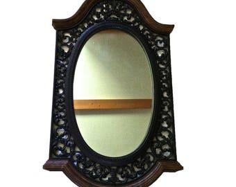 """BLACK WALL MIRROR 39""""x22"""" Large Mirror Vintage Ornate Mirror Baroque Mirror Syroco Mirror Mid Century Mirror"""