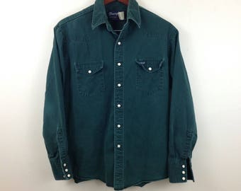 Vintage Wrangler Pearl Snap Thick Cotton Green Western Shirt - Size Large