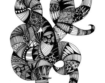 zentangle abstract snake