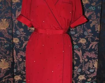 Gooseberry color black and white polka dot dress - 1940-T: 42