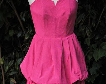 Puffy pink dress with polka dots 1980 - size: 36
