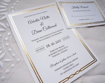 Gold/Silver/Pearl Foil Wedding Invitations + RSVP Cards