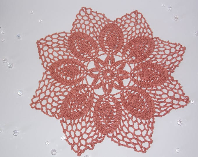 Terracotta doily Crochet lace doily crocheted decoration Crochet table decor Decorative crochet Terracotta cotton doily Crochet ornaments