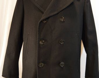 Vintage Black DSCP by Sterlingwear of Boston 44S Wool Peacoat