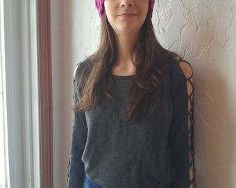 Hat adult or child with Pompom wool or fur, Rich Orchid, knitted by hand