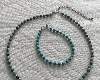 Beautiful Turquoise & Tiger Eye Gemstone Beaded Sterling silver Necklace and Bracelet set