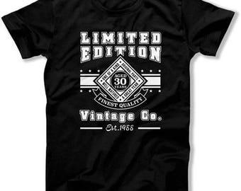 30th Birthday Gift Ideas 30th Birthday Shirt Birthday Present Custom Year Vintage Company Established 1988 Birthday Mens Ladies Tee DAT-1253