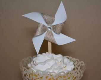 Pinwheel cupcake toppers - Set of 12
