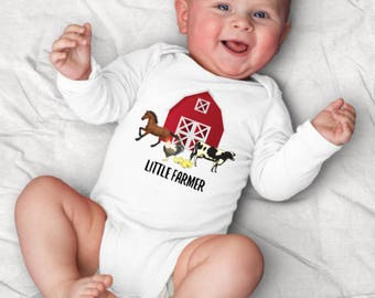 Little Farmer Baby Clothes, Farm Baby Boy, Horse Baby Girl, Cow Baby Outfit, Farm Help On The Way, Barn Baby Shower, Chicken Baby Clothes