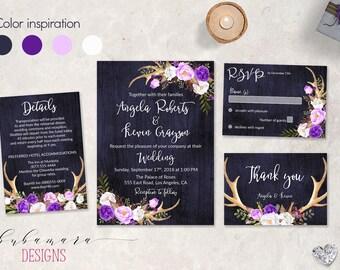 Navy Purple Wedding Invitation Set Deer Antlers Lavender White Floral Wedding Invite Tribal Spring Digital Wedding Invitation Suite - WS045