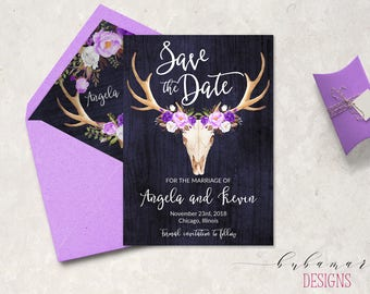 Navy Purple Save the Date Invitation Lavender White Floral Tribal Invite Antlers Burgundy Lilac Save the Date Invite Summer Invite - WS045