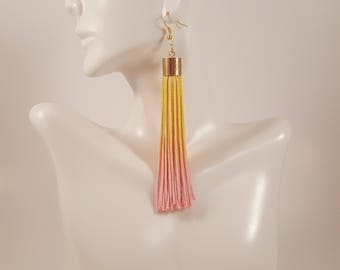 Pink and yellow tassel earrings, fringe earrings, colorful earring, ombre earrings, statement earrings, light pink earrings, yellow earrings