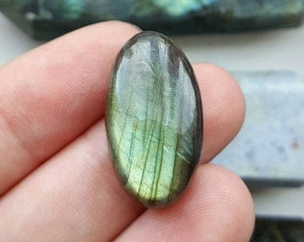 Bright Green Oval Labradorite Cabochon