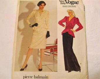 Vogue 1298 Paris Original Pierre Balmain UNCUT Misses' Peplum Wrap Top and Skirt Vintage 1980s 80s Sewing Pattern Size 8 Bust 31.5