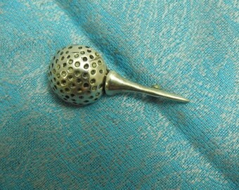 stunning vintage sterling silver golf ball and tee brooch