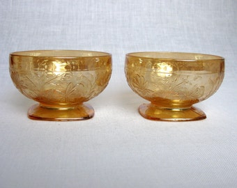 Jeanette Floragold Louisa / Depression Carnival Glass / Set Of Two / Candy / Fruit / Sherbets / Custard Cups / Dish / Collectible / Art Deco
