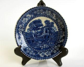 Antique / De Sphinx / Petrus Regout & Co / Maastricht Holland / Flow Blue Plate / Blue and White / Tower Pattern / Dutch Ceramic Plate/ Rare