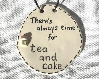 Tea & Cake Plaque  - Ceramic Plaque - Pottery Plaque - Tea - Cake