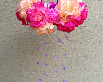 Flower Mobile,Baby mobile,Floral Mobile,Baby Girl Gift, Girl Mobile, Nursery Mobile, Wedding chandelier, Wedding Decoration