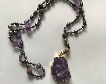 Beaded amethyst necklace and pendant