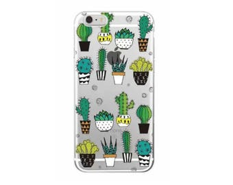 Cute Cactus Cell Phone case Potted Cacti  Iphone 7 Plus Cacti Phone Case Cover Silicon