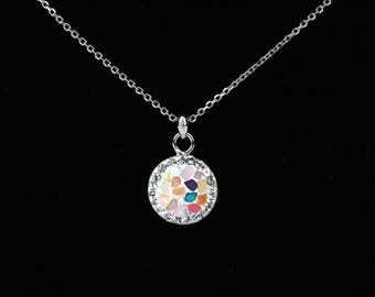 Round Pave Pendant, Sterling Silver Chain, Split Mother Of Pearl, White Color, Tiny Swarovski Crystals, Polymer Glue, Unique Korean Style