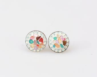 Sterling Silver Stud Earrings, Split Mother of Pearl Swarovsky Crystals, White Opal Color, Unique Style Stud Earrings.