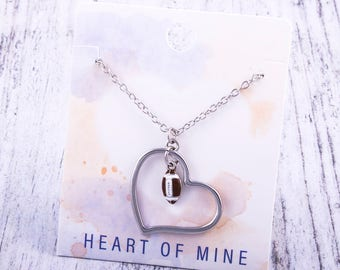 Customizable! Heart of Mine: Football Enamel Necklace - Great Football Gift!