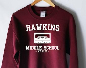 Hawkins Middle School AV Club Sweatshirt - Stranger Things Shirt - Stranger Things Tee - Jumper - Eleven Hopper