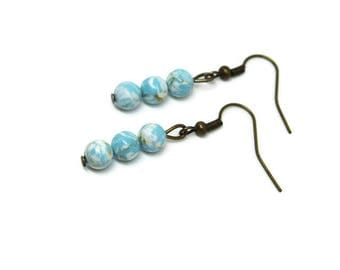Earrings bronze with Pearls light blue (Mintblau azure pearl earrings boho Turquoise white short romantic nature mint colors)