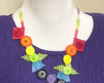Rainbow Necklace / Beaded Necklace / Handmade Necklace / Geometric Necklace / OOAK Necklace