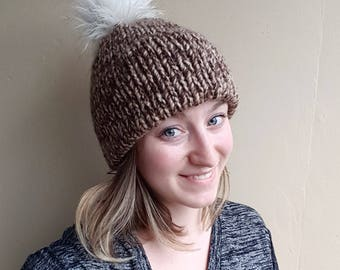 Double-Brim Beanie - Toffee, double-layer, winter hat, faux fur pom-pom, wool toque, chunky knit beanie, double thick brim, slouchy hat